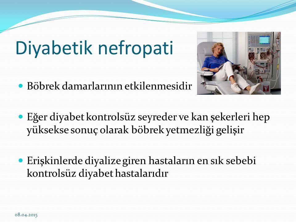 Diyabetik nöropati Tip 2 diyabetli hastaların %50'sinde görülür El ve ayaklarda uyuşmalar, yanmalar Nöropatik ağrı Kas güçsüzlüğü Baş dönmesi Bulantı-kusma Kabızlık Erektil disfonksiyon İdrar kaçırma 08.04.2015
