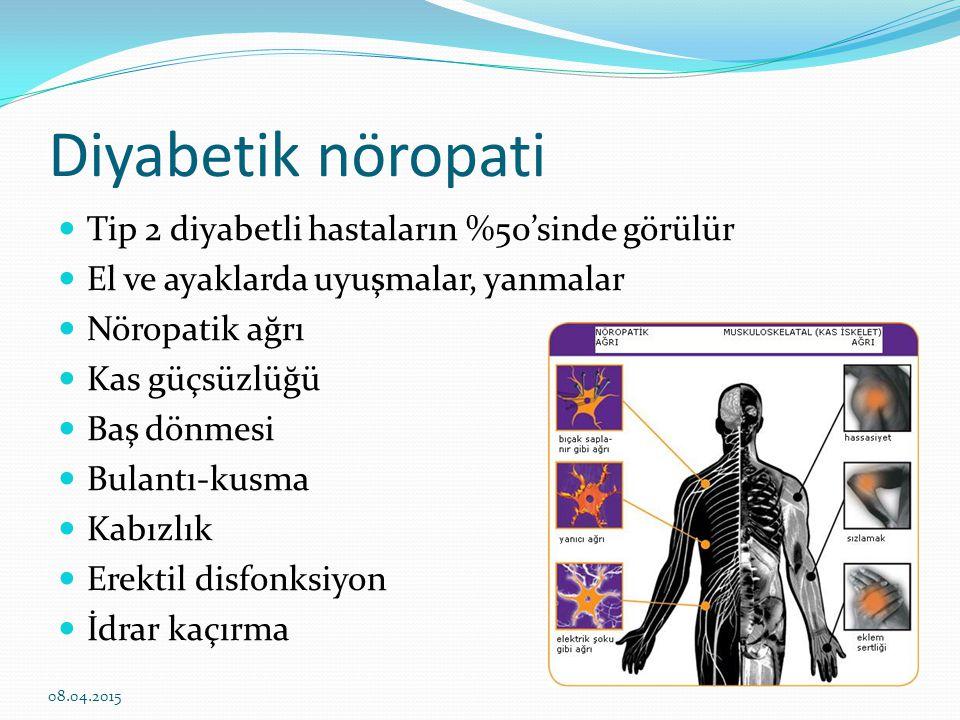 Diyabetik nöropati Tip 2 diyabetli hastaların %50'sinde görülür El ve ayaklarda uyuşmalar, yanmalar Nöropatik ağrı Kas güçsüzlüğü Baş dönmesi Bulantı-