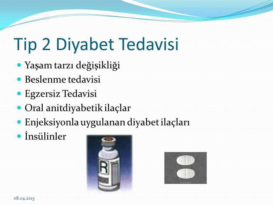 Tip 2 Diyabet Tedavisi Yaşam tarzı değişikliği Beslenme tedavisi Egzersiz Tedavisi Oral anitdiyabetik ilaçlar Enjeksiyonla uygulanan diyabet ilaçları