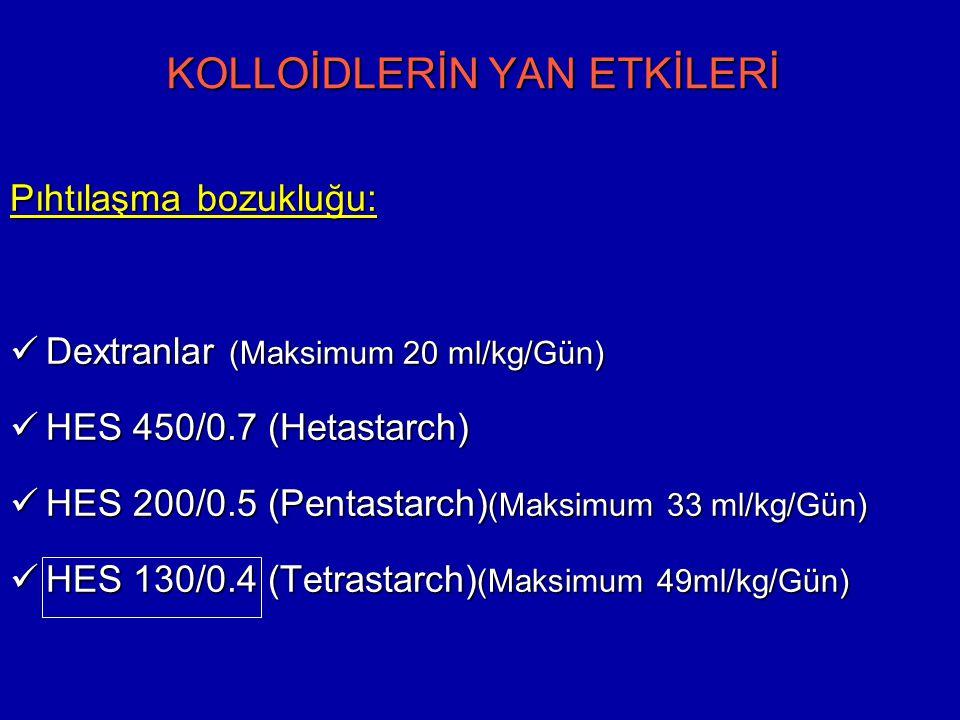 KOLLOİDLERİN YAN ETKİLERİ Pıhtılaşma bozukluğu: Dextranlar (Maksimum 20 ml/kg/Gün) Dextranlar (Maksimum 20 ml/kg/Gün) HES 450/0.7 (Hetastarch) HES 450