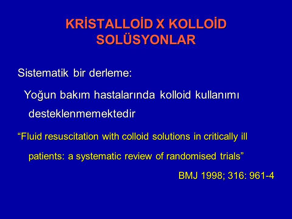 Sistematik bir derleme: Yoğun bakım hastalarında kolloid kullanımı desteklenmemektedir Yoğun bakım hastalarında kolloid kullanımı desteklenmemektedir