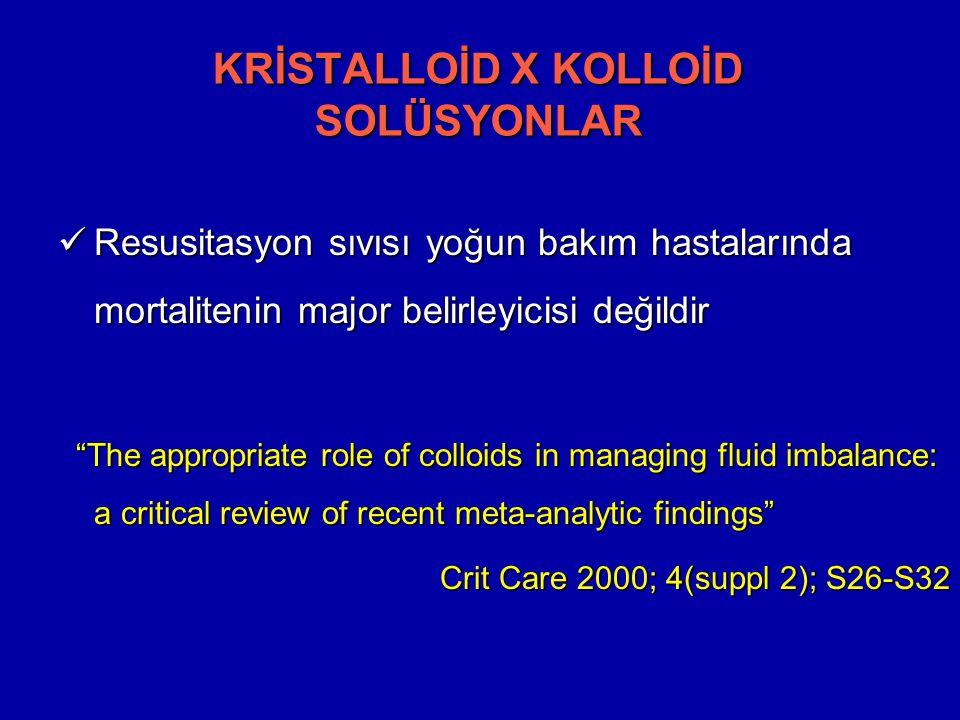 Resusitasyon sıvısı yoğun bakım hastalarında mortalitenin major belirleyicisi değildir Resusitasyon sıvısı yoğun bakım hastalarında mortalitenin major