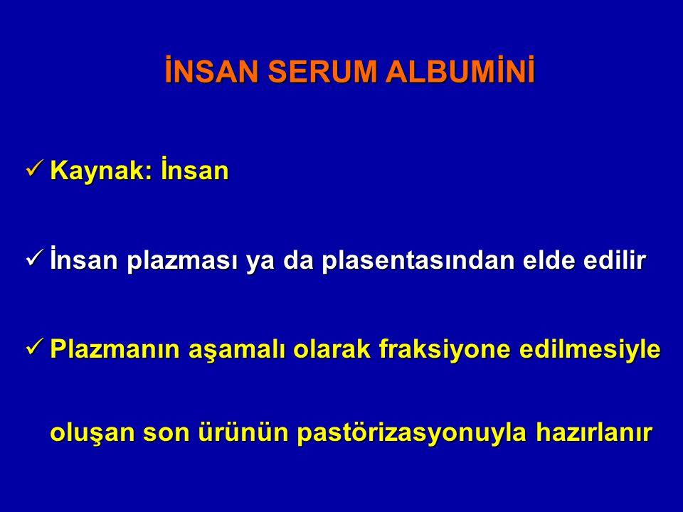 İNSAN SERUM ALBUMİNİ Kaynak: İnsan Kaynak: İnsan İnsan plazması ya da plasentasından elde edilir İnsan plazması ya da plasentasından elde edilir Plazm