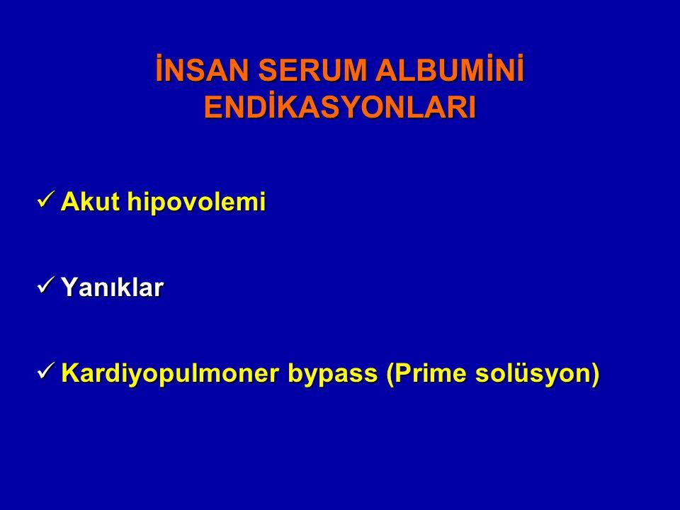 İNSAN SERUM ALBUMİNİ ENDİKASYONLARI Akut hipovolemi Akut hipovolemi Yanıklar Yanıklar Kardiyopulmoner bypass (Prime solüsyon) Kardiyopulmoner bypass (