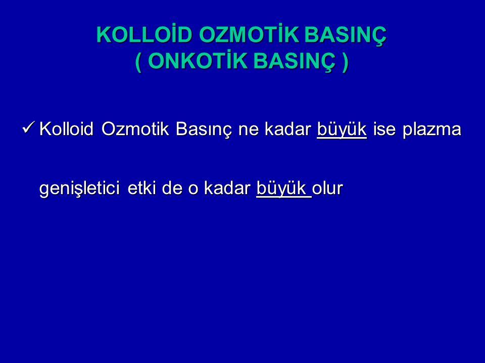 Kolloid Ozmotik Basınç ne kadar büyük ise plazma genişletici etki de o kadar büyük olur Kolloid Ozmotik Basınç ne kadar büyük ise plazma genişletici e