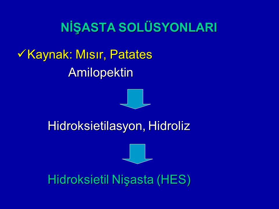NİŞASTA SOLÜSYONLARI Kaynak: Mısır, Patates Kaynak: Mısır, Patates Amilopektin Amilopektin Hidroksietilasyon, Hidroliz Hidroksietilasyon, Hidroliz Hid