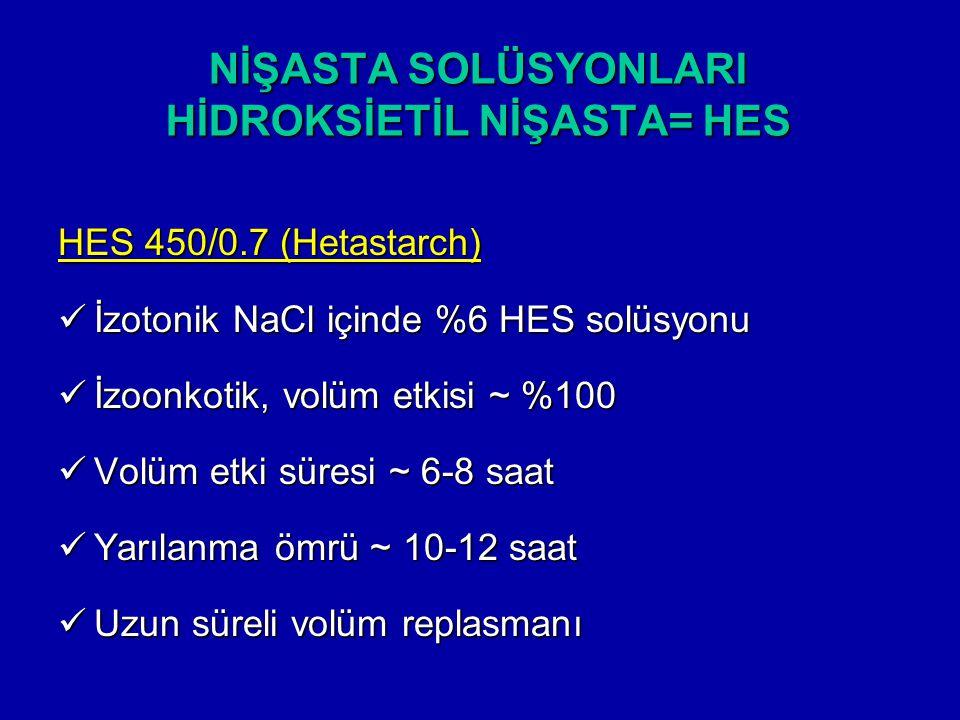 NİŞASTA SOLÜSYONLARI HİDROKSİETİL NİŞASTA= HES HES 450/0.7 (Hetastarch) İzotonik NaCl içinde %6 HES solüsyonu İzotonik NaCl içinde %6 HES solüsyonu İz
