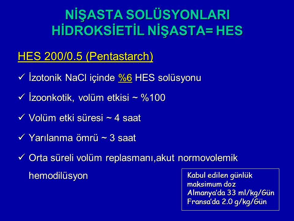 NİŞASTA SOLÜSYONLARI HİDROKSİETİL NİŞASTA= HES HES 200/0.5 (Pentastarch) İzotonik NaCl içinde %6 HES solüsyonu İzotonik NaCl içinde %6 HES solüsyonu İ