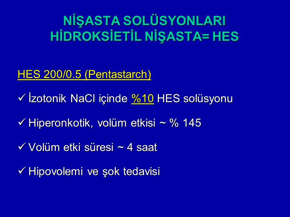 NİŞASTA SOLÜSYONLARI HİDROKSİETİL NİŞASTA= HES HES 200/0.5 (Pentastarch) İzotonik NaCl içinde %10 HES solüsyonu İzotonik NaCl içinde %10 HES solüsyonu