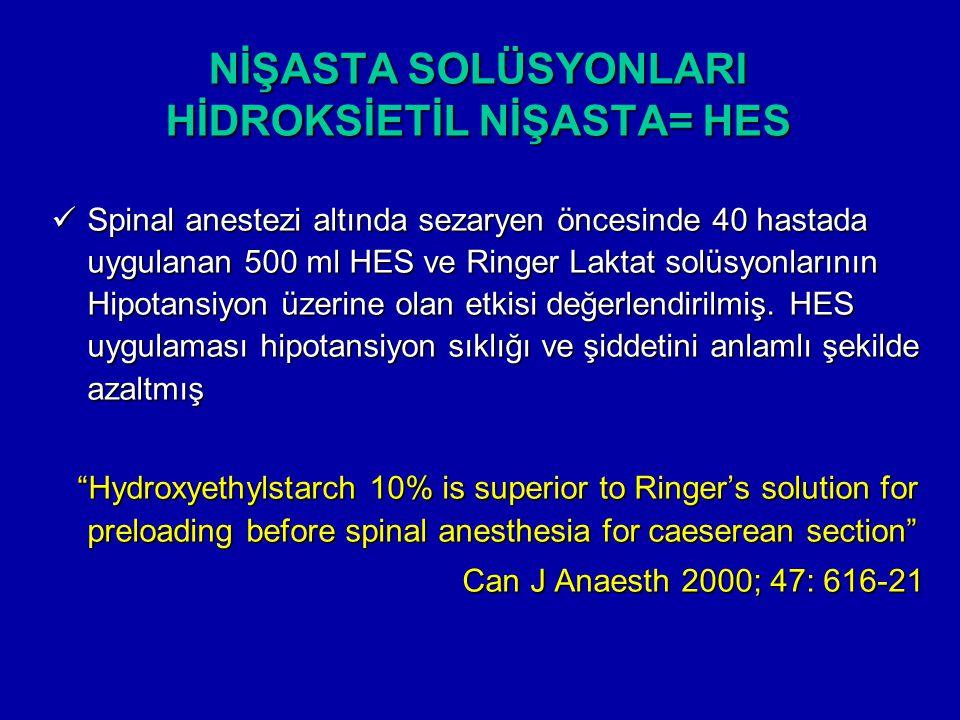 NİŞASTA SOLÜSYONLARI HİDROKSİETİL NİŞASTA= HES Spinal anestezi altında sezaryen öncesinde 40 hastada uygulanan 500 ml HES ve Ringer Laktat solüsyonlar