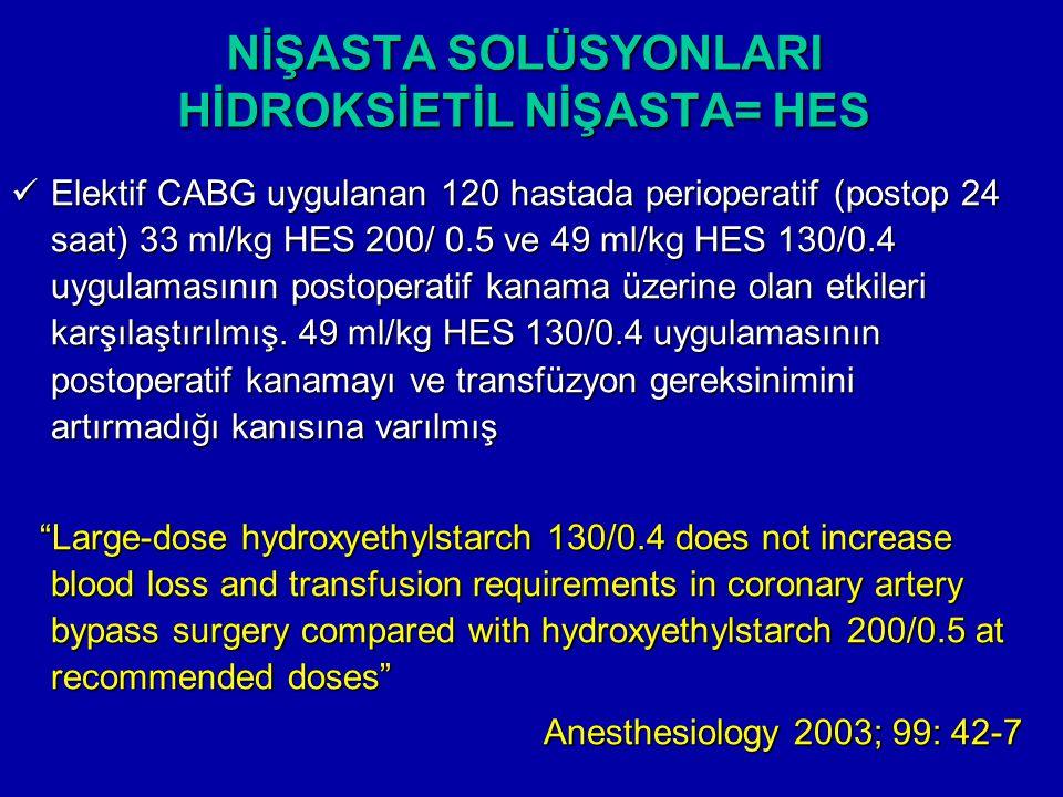 NİŞASTA SOLÜSYONLARI HİDROKSİETİL NİŞASTA= HES Elektif CABG uygulanan 120 hastada perioperatif (postop 24 saat) 33 ml/kg HES 200/ 0.5 ve 49 ml/kg HES