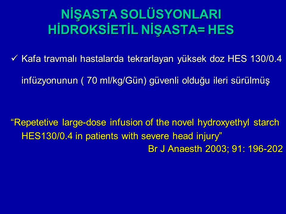 NİŞASTA SOLÜSYONLARI HİDROKSİETİL NİŞASTA= HES Kafa travmalı hastalarda tekrarlayan yüksek doz HES 130/0.4 infüzyonunun ( 70 ml/kg/Gün) güvenli olduğu