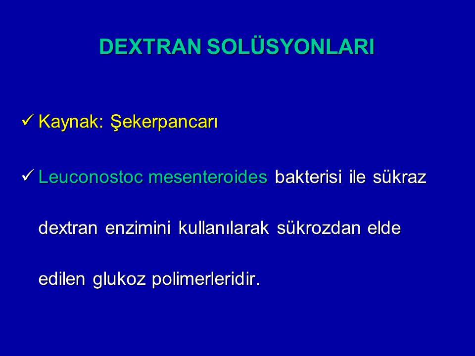 DEXTRAN SOLÜSYONLARI Kaynak: Şekerpancarı Kaynak: Şekerpancarı Leuconostoc mesenteroides bakterisi ile sükraz dextran enzimini kullanılarak sükrozdan