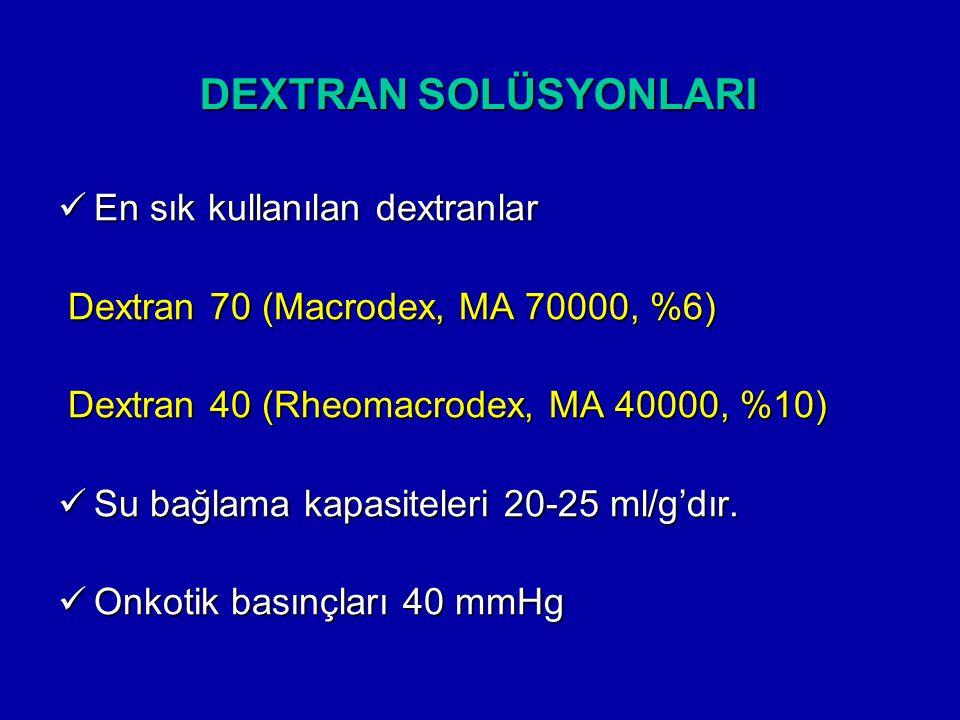 DEXTRAN SOLÜSYONLARI En sık kullanılan dextranlar En sık kullanılan dextranlar Dextran 70 (Macrodex, MA 70000, %6) Dextran 70 (Macrodex, MA 70000, %6)