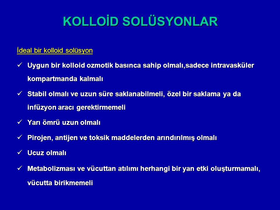 KOLLOİD SOLÜSYONLAR İdeal bir kolloid solüsyon Uygun bir kolloid ozmotik basınca sahip olmalı,sadece intravasküler kompartmanda kalmalı Uygun bir koll