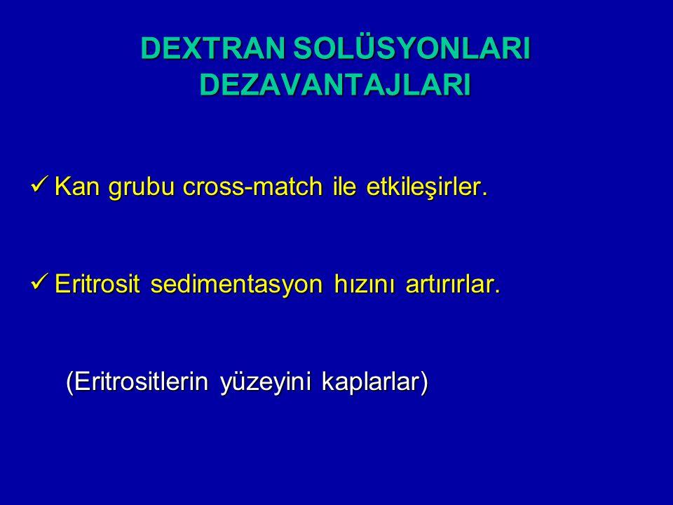 DEXTRAN SOLÜSYONLARI DEZAVANTAJLARI Kan grubu cross-match ile etkileşirler. Kan grubu cross-match ile etkileşirler. Eritrosit sedimentasyon hızını art