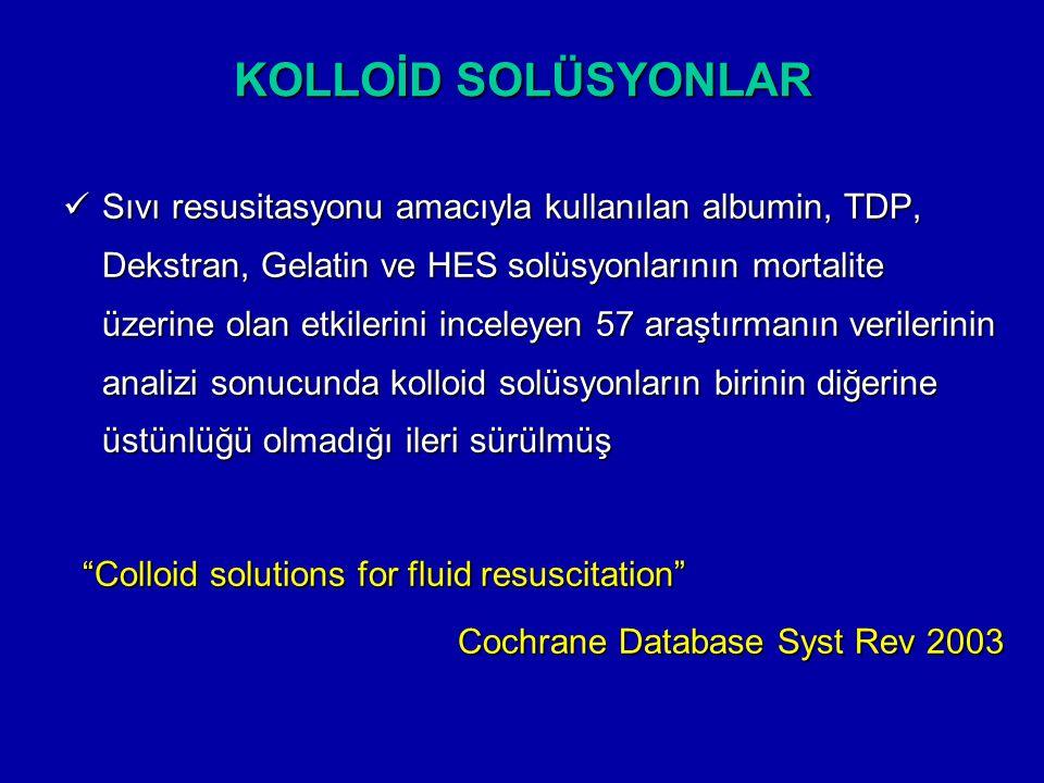 KOLLOİD SOLÜSYONLAR Sıvı resusitasyonu amacıyla kullanılan albumin, TDP, Dekstran, Gelatin ve HES solüsyonlarının mortalite üzerine olan etkilerini in