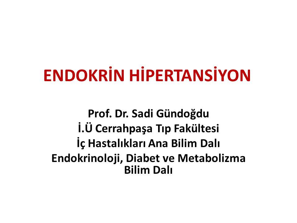 ENDOKRİN HİPERTANSİYON Prof. Dr. Sadi Gündoğdu İ.Ü Cerrahpaşa Tıp Fakültesi İç Hastalıkları Ana Bilim Dalı Endokrinoloji, Diabet ve Metabolizma Bilim