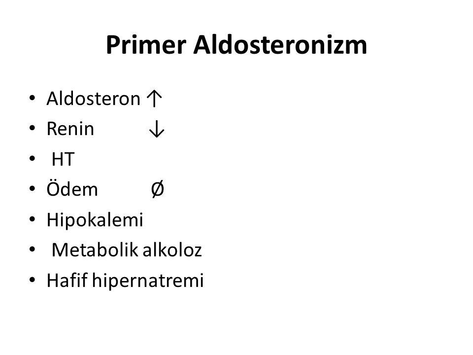 Primer Aldosteronizm Aldosteron ↑ Renin ↓ HT Ödem Ø Hipokalemi Metabolik alkoloz Hafif hipernatremi