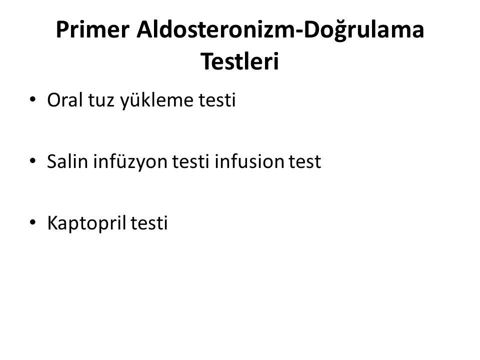 Primer Aldosteronizm-Doğrulama Testleri Oral tuz yükleme testi Salin infüzyon testi infusion test Kaptopril testi