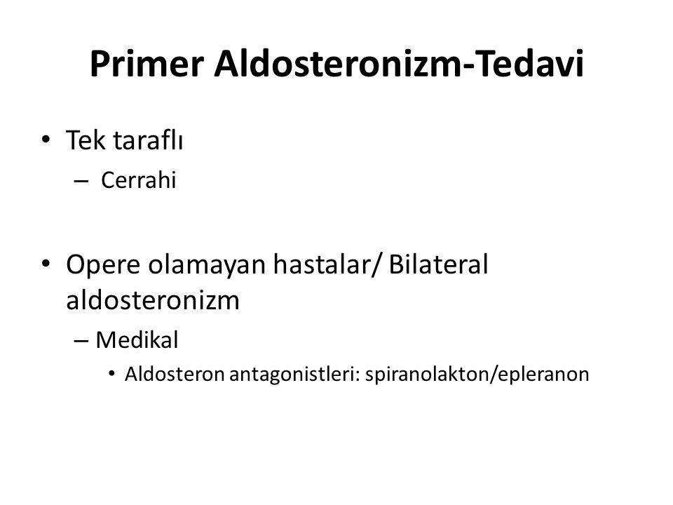 Primer Aldosteronizm-Tedavi Tek taraflı – Cerrahi Opere olamayan hastalar/ Bilateral aldosteronizm – Medikal Aldosteron antagonistleri: spiranolakton/