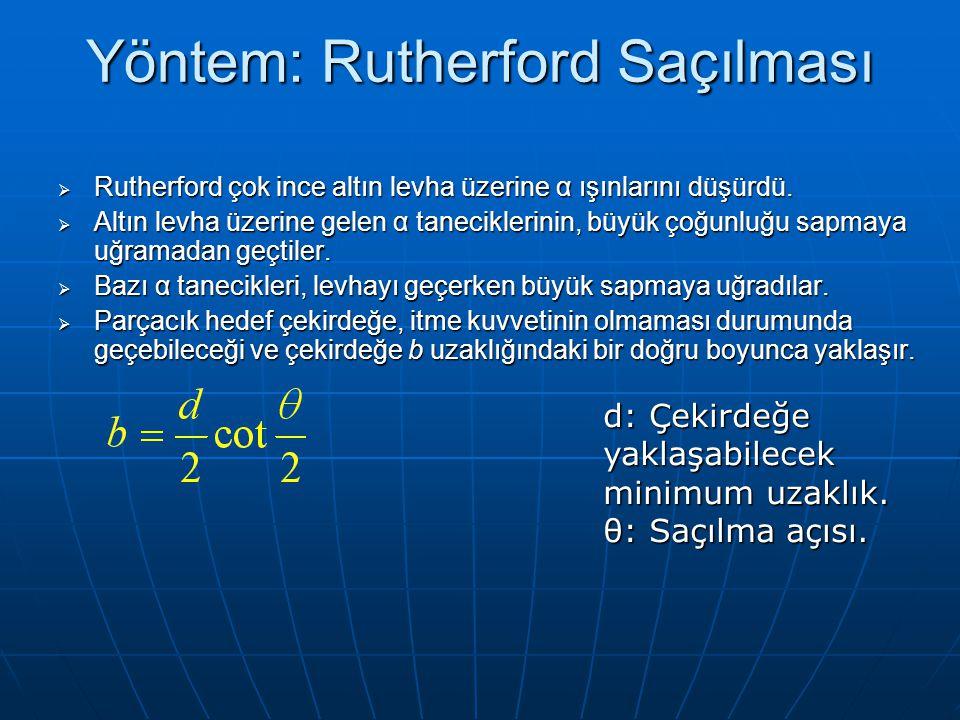 Yöntem: Rutherford Saçılması  Rutherford çok ince altın levha üzerine α ışınlarını düşürdü.  Altın levha üzerine gelen α taneciklerinin, büyük çoğun