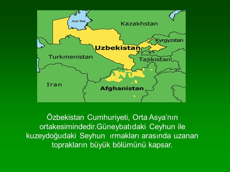 Özbekistan Cumhuriyeti, Orta Asya'nın ortakesimindedir.Güneybatıdaki Ceyhun ile kuzeydoğudaki Seyhun ırmakları arasında uzanan toprakların büyük bölüm