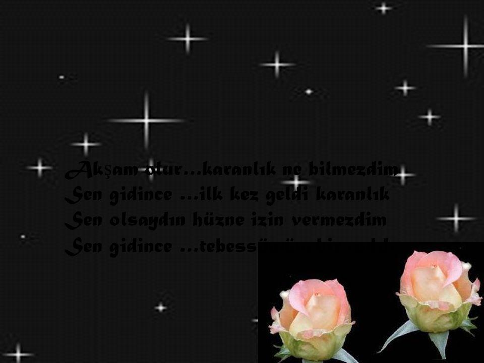 Ak ş am olur…karanlık ne bilmezdim Sen gidince …ilk kez geldi karanlık Sen olsaydın hüzne izin vermezdim Sen gidince …tebessümüm bir anlık