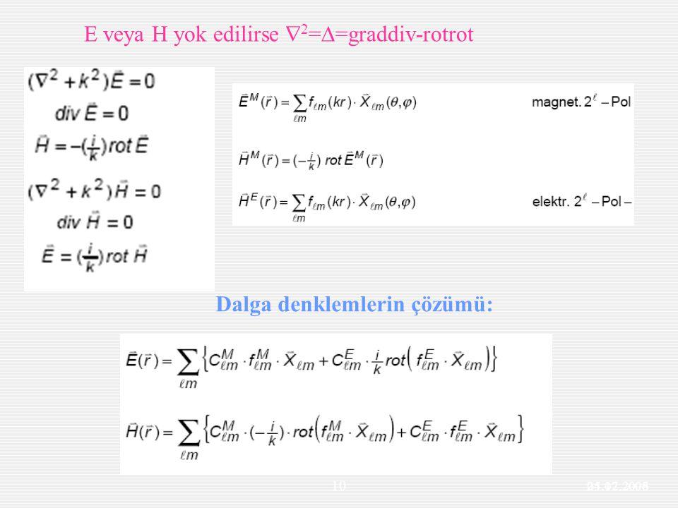 25.12.2006 10 Maxwell denklemleri E veya H yok edilirse  2 =  =graddiv-rotrot Dalga denklemlerin çözümü: 04.07.2008