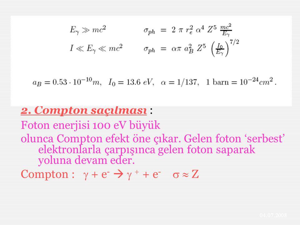 2. Compton saçılması : Foton enerjisi 100 eV büyük olunca Compton efekt öne çıkar. Gelen foton 'serbest' elektronlarla çarpışınca gelen foton saparak