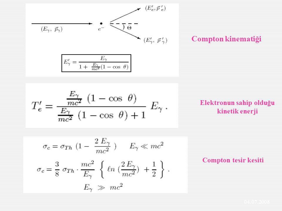 Elektronun sahip olduğu kinetik enerji Compton tesir kesiti Compton kinematiği 04.07.2008