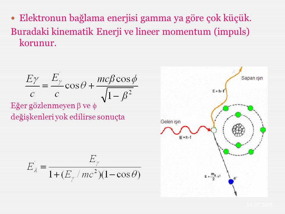 Elektronun bağlama enerjisi gamma ya göre çok küçük. Buradaki kinematik Enerji ve lineer momentum (impuls) korunur. Eğer gözlenmeyen  ve  değişkenle