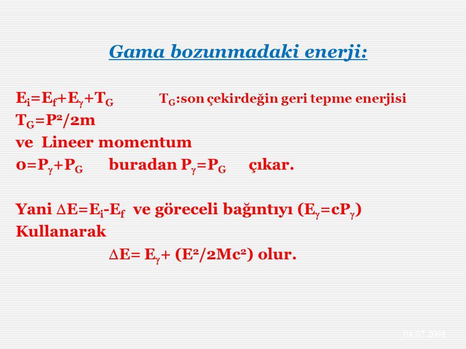 Gama bozunmadaki enerji: E i =E f +E  +T G T G :son çekirdeğin geri tepme enerjisi T G =P 2 /2m ve Lineer momentum 0=P  +P G buradan P  =P G çıkar.