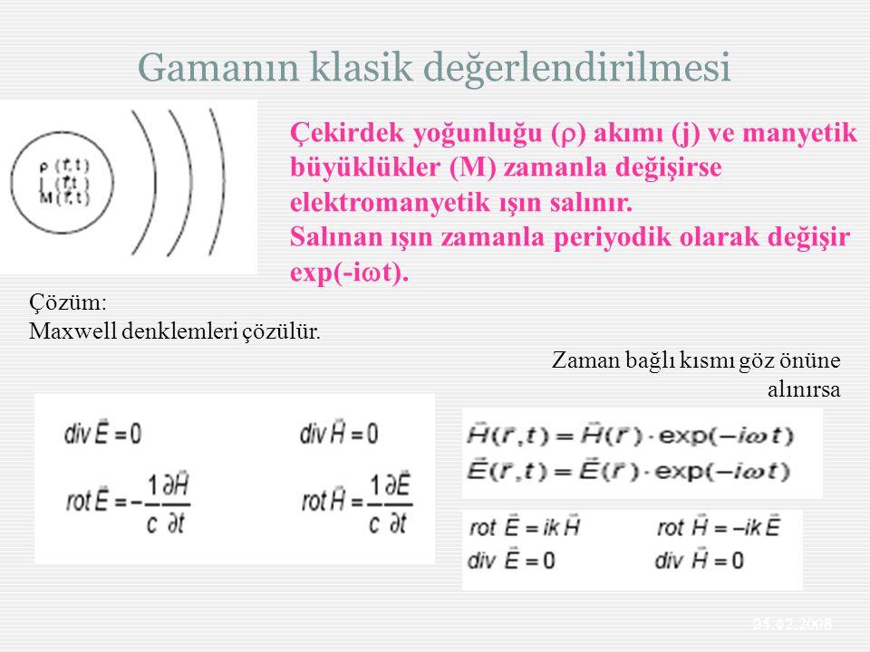Gamanın klasik değerlendirilmesi 25.12.2006 Çekirdek yoğunluğu (  ) akımı (j) ve manyetik büyüklükler (M) zamanla değişirse elektromanyetik ışın salı