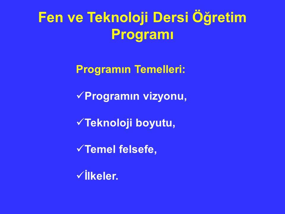 Fen ve Teknoloji Dersi Öğretim Programı Programın Temelleri: Programın vizyonu, Teknoloji boyutu, Temel felsefe, İlkeler.
