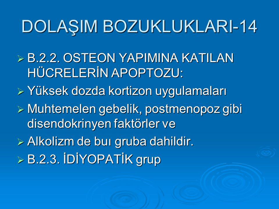 DOLAŞIM BOZUKLUKLARI-14  B.2.2. OSTEON YAPIMINA KATILAN HÜCRELERİN APOPTOZU:  Yüksek dozda kortizon uygulamaları  Muhtemelen gebelik, postmenopoz g