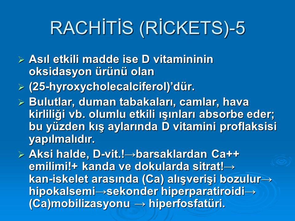 RACHİTİS (RİCKETS)-5  Asıl etkili madde ise D vitamininin oksidasyon ürünü olan  (25-hyroxycholecalciferol)'dür.  Bulutlar, duman tabakaları, camla
