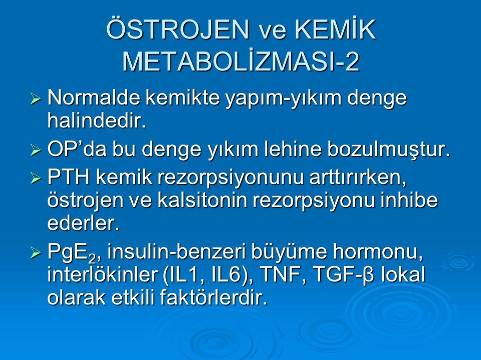 ÖSTROJEN ve KEMİK METABOLİZMASI-2  Normalde kemikte yapım-yıkım denge halindedir.  OP'da bu denge yıkım lehine bozulmuştur.  PTH kemik rezorpsiyonu