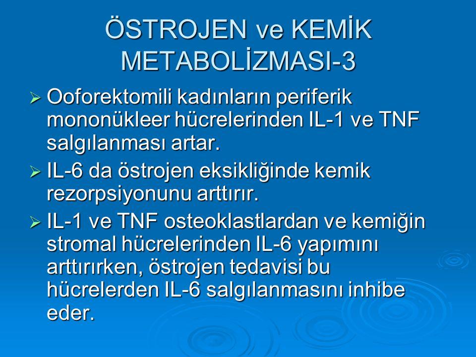 ÖSTROJEN ve KEMİK METABOLİZMASI-3  Ooforektomili kadınların periferik mononükleer hücrelerinden IL-1 ve TNF salgılanması artar.  IL-6 da östrojen ek