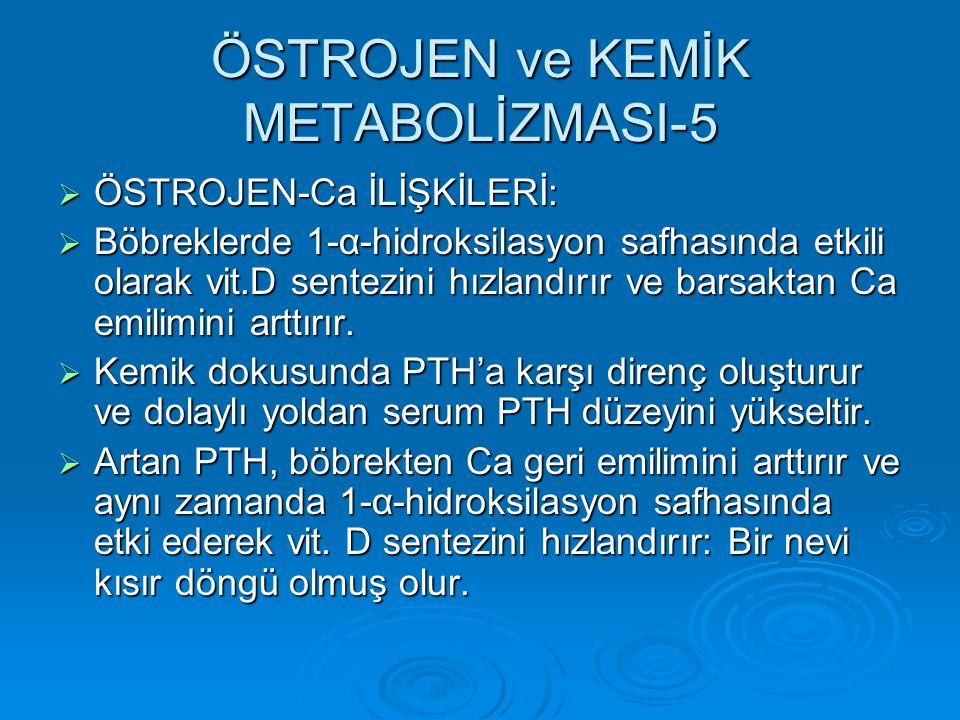 ÖSTROJEN ve KEMİK METABOLİZMASI-5  ÖSTROJEN-Ca İLİŞKİLERİ:  Böbreklerde 1-α-hidroksilasyon safhasında etkili olarak vit.D sentezini hızlandırır ve b