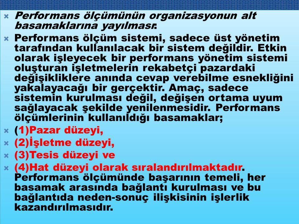  Performans ölçümünün organizasyonun alt basamaklarına yayılması:  Performans ölçüm sistemi, sadece üst yönetim tarafından kullanılacak bir sistem d