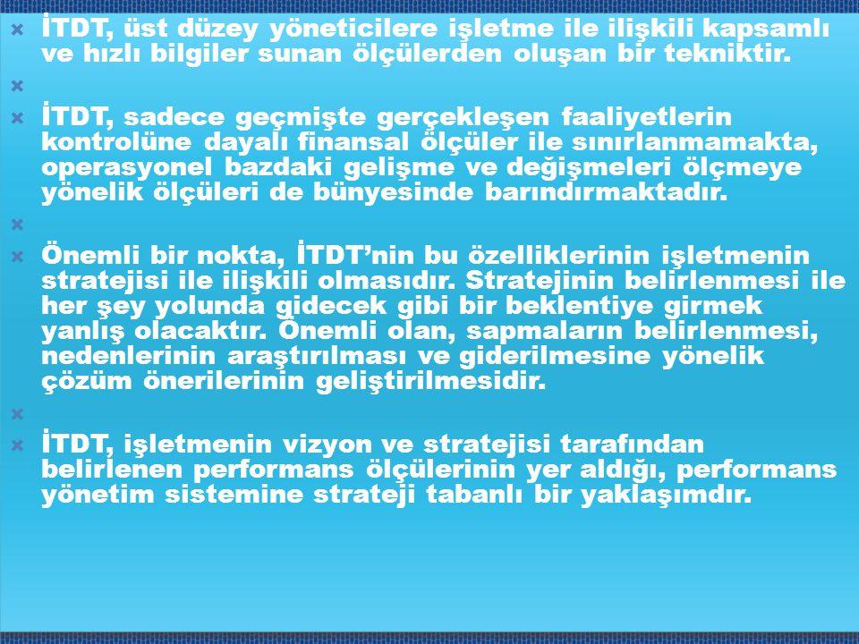  İTDT, üst düzey yöneticilere işletme ile ilişkili kapsamlı ve hızlı bilgiler sunan ölçülerden oluşan bir tekniktir.   İTDT, sadece geçmişte gerçek