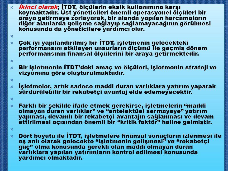  İkinci olarak; İTDT, ölçülerin eksik kullanımına karşı koymaktadır. Üst yöneticileri önemli operasyonel ölçüleri bir araya getirmeye zorlayarak, bir