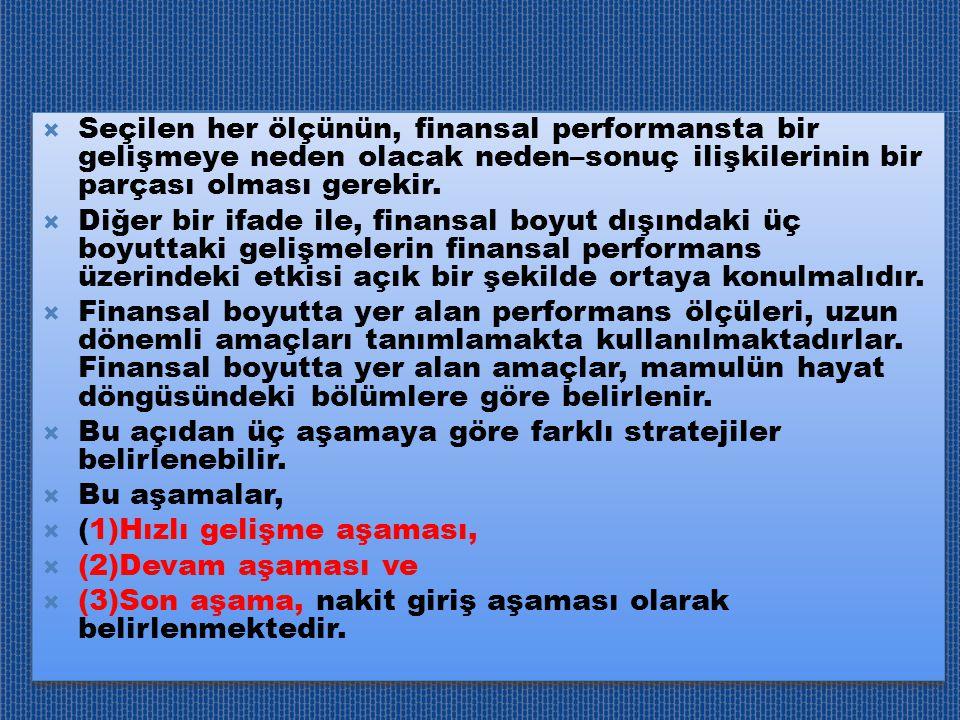  Seçilen her ölçünün, finansal performansta bir gelişmeye neden olacak neden–sonuç ilişkilerinin bir parçası olması gerekir.  Diğer bir ifade ile, f