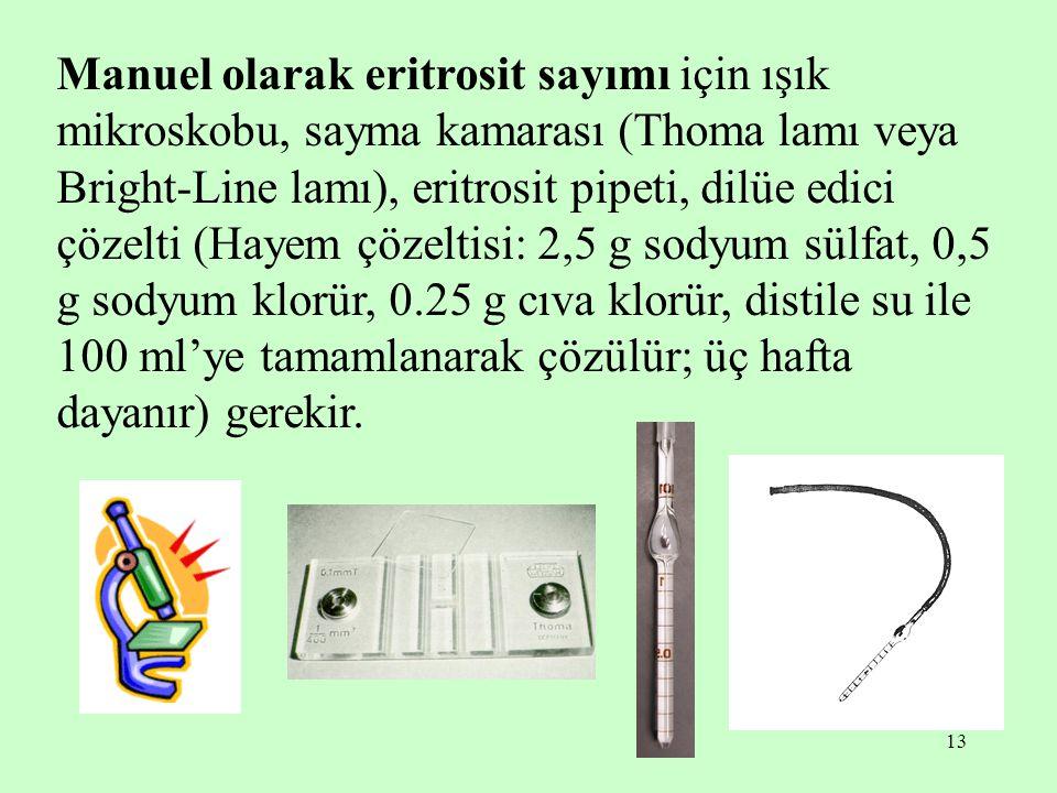 13 Manuel olarak eritrosit sayımı için ışık mikroskobu, sayma kamarası (Thoma lamı veya Bright-Line lamı), eritrosit pipeti, dilüe edici çözelti (Haye