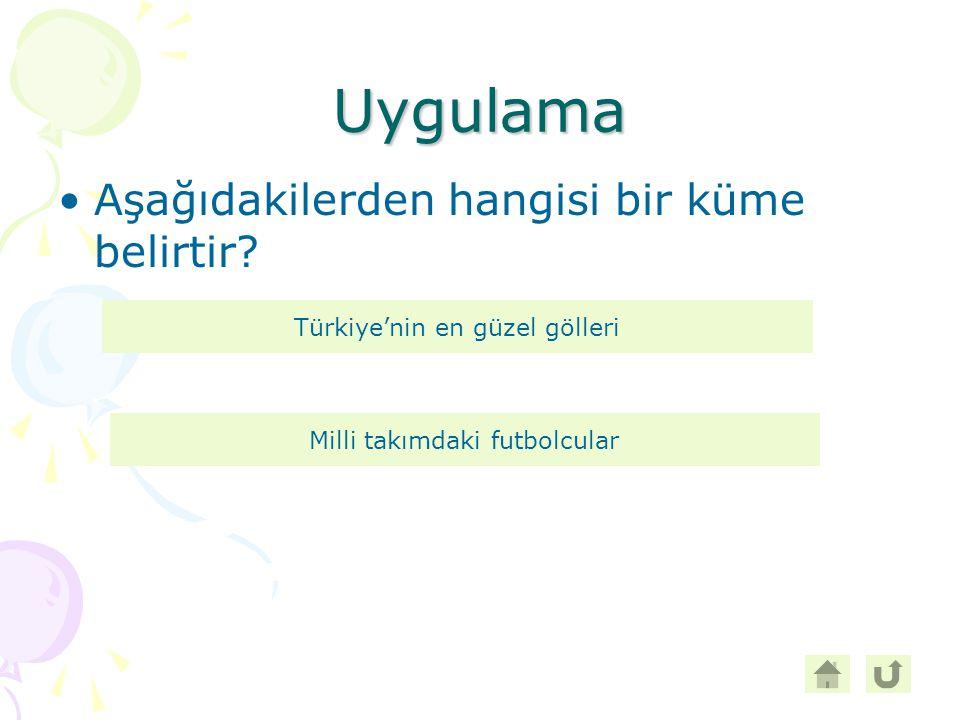 Uygulama Aşağıdakilerden hangisi bir küme belirtir? Türkiye'nin en güzel gölleri Milli takımdaki futbolcular
