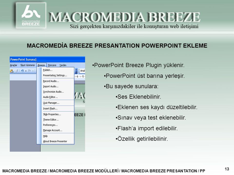 MACROMEDİA BREEZE PRESANTATION POWERPOINT EKLEME MACROMEDIA BREEZE / MACROMEDIA BREEZE MODÜLLERİ / MACROMEDIA BREEZE PRESANTATION / PP 13 PowerPoint Breeze Plugin yüklenir.