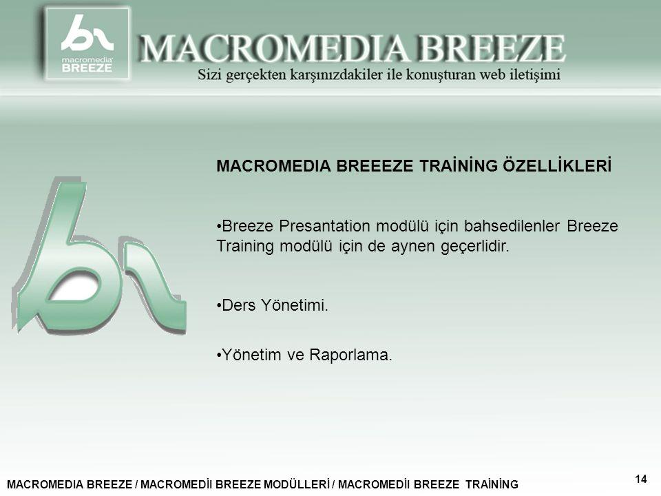 MACROMEDIA BREEEZE TRAİNİNG ÖZELLİKLERİ Breeze Presantation modülü için bahsedilenler Breeze Training modülü için de aynen geçerlidir.