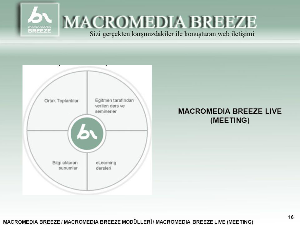 MACROMEDIA BREEZE LIVE (MEETING) MACROMEDIA BREEZE / MACROMEDIA BREEZE MODÜLLERİ / MACROMEDIA BREEZE LIVE (MEETING) 16