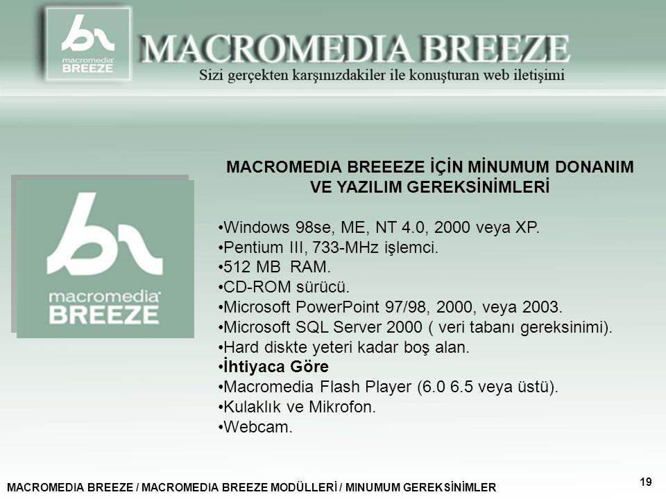 MACROMEDIA BREEEZE İÇİN MİNUMUM DONANIM VE YAZILIM GEREKSİNİMLERİ Windows 98se, ME, NT 4.0, 2000 veya XP.